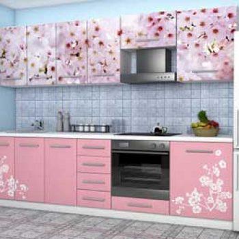 Кухня с цветами на фасаде «ЦК1»