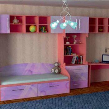 Кровать стенка для девочки «Берби»