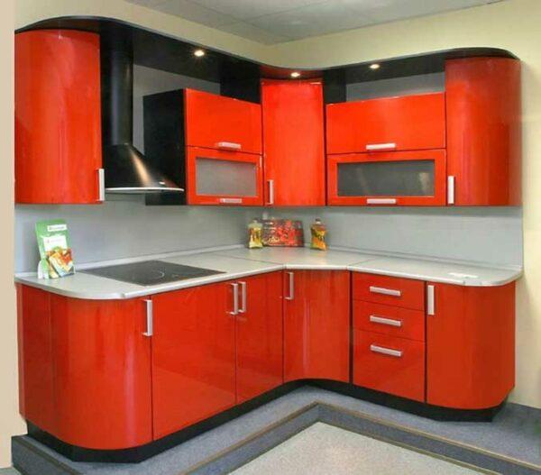 Угловая оранжевая кухня «ВА2»