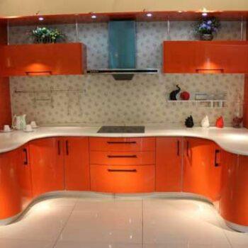 Оранжевая П- образная кухня «ВА1»