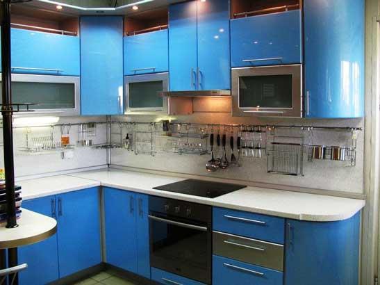 Кухня голубого цвета «ГУ1»