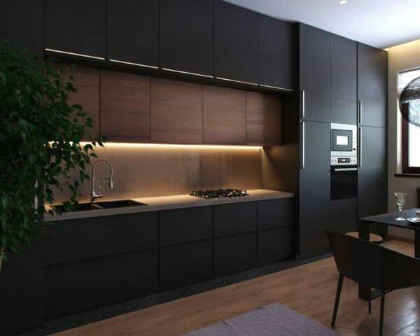 Темная хай-тек кухня «ЕН1»