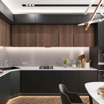 Угловая кухня темного цвета «ЕН2»