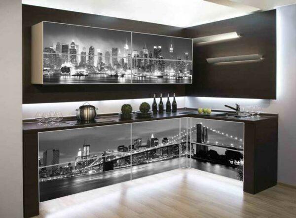 Угловая кухня с фотопечатью «Ф8»