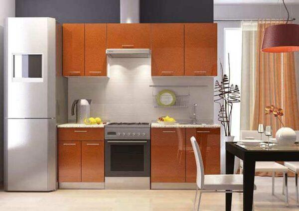 Кухня оранжевый металлик «ЛК4»