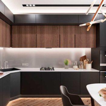 Черная угловая кухня до потолка