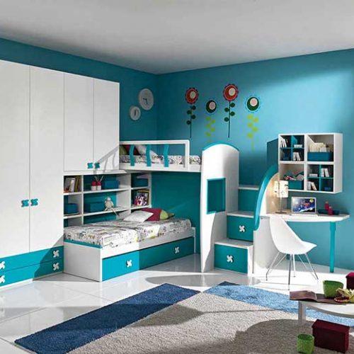 Детский гарнитур мебели в бирюзовых тонах
