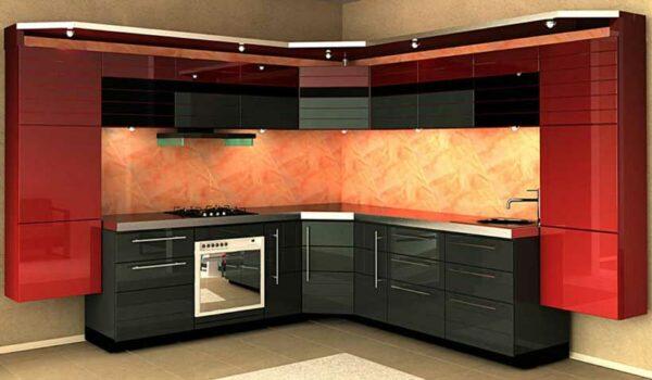 Hi-tech кухня с косым углом «КУ5»