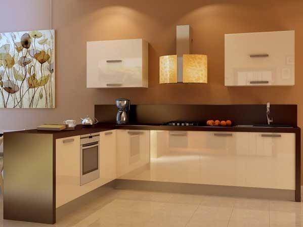 Угловая бежевая кухня «БЖ2»