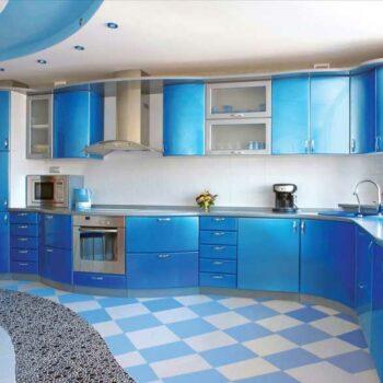 Глянцевая голубая кухня «ГУ3»