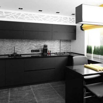 Прямая черная кухня «АР2»