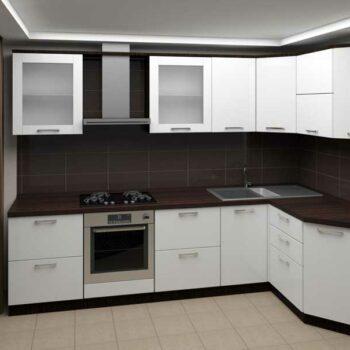 Белая угловая кухня с прямым углом «КП3»