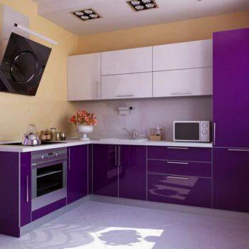 Глянцевая фиолетовая кухня «ЛВ4»