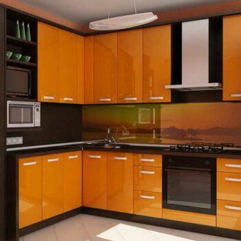 Оранжевая угловая кухня «КП4»