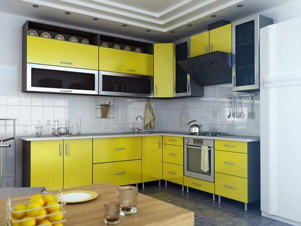 Угловая желтая кухня «Ж3»